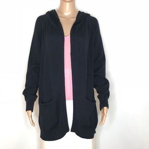 CAbi Newport Sweater Hooded Cardigan Open Front